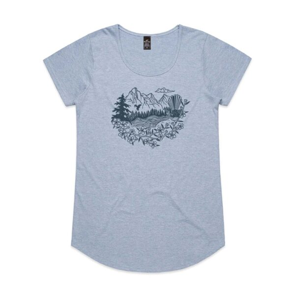 Fantail River Womens Blue Marle t-shirt
