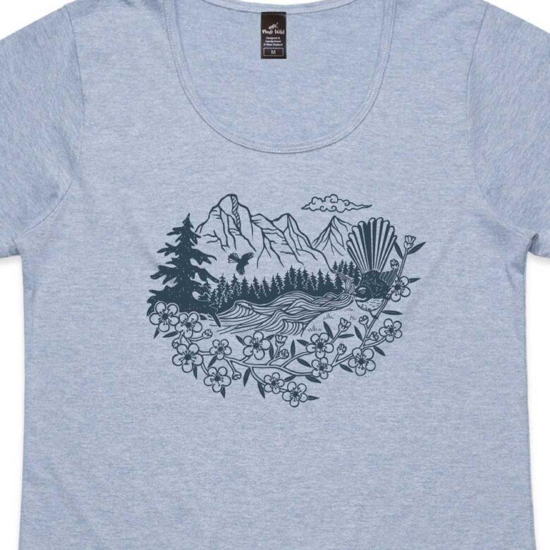 Fantail River Womens Blue Marle t-shirt