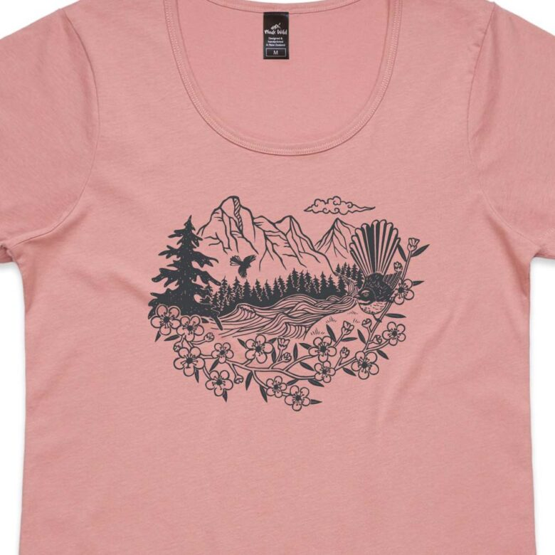 Fantail River Womens Rose t-shirt