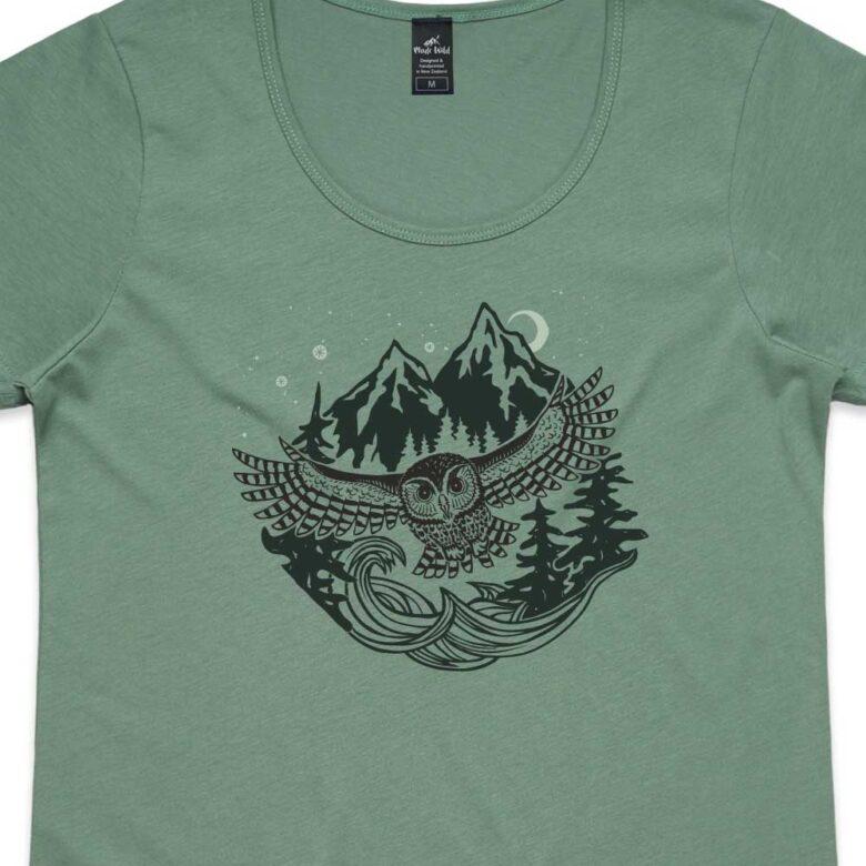 Flying Owl Womens Sage t-shirt