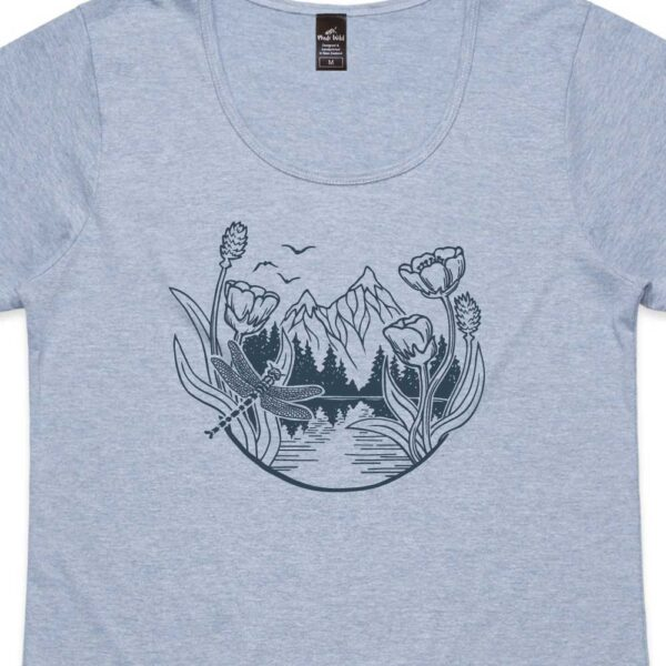 Mountain Dragonfly Womens Blue Marle t-shirt