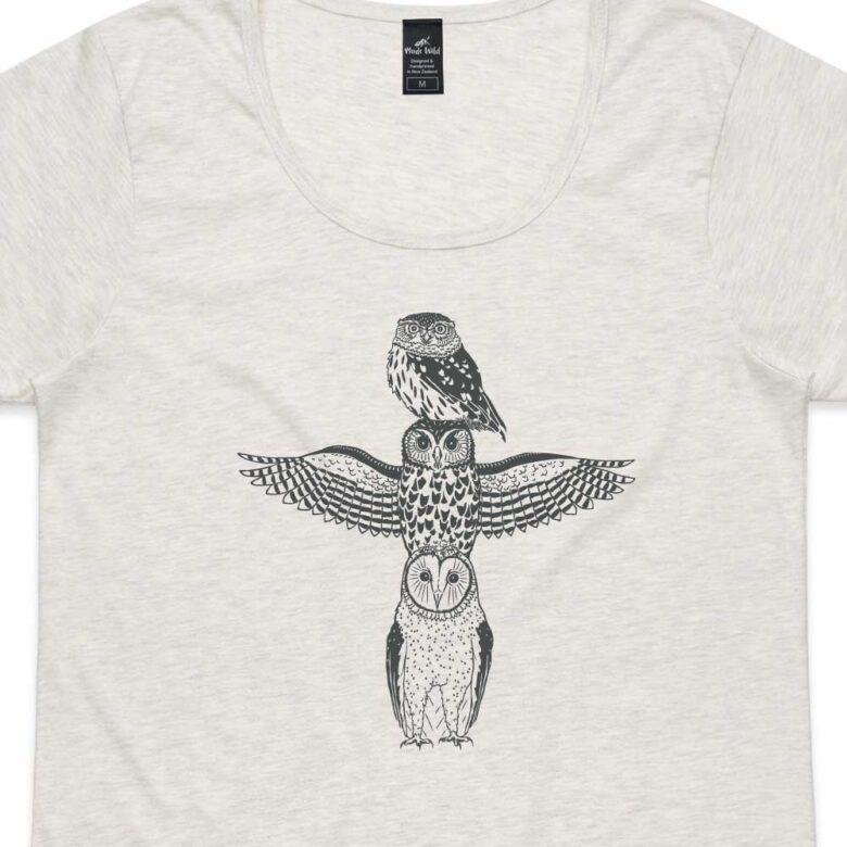 Owl Totem Womens Oatmeal Marle t-shirt