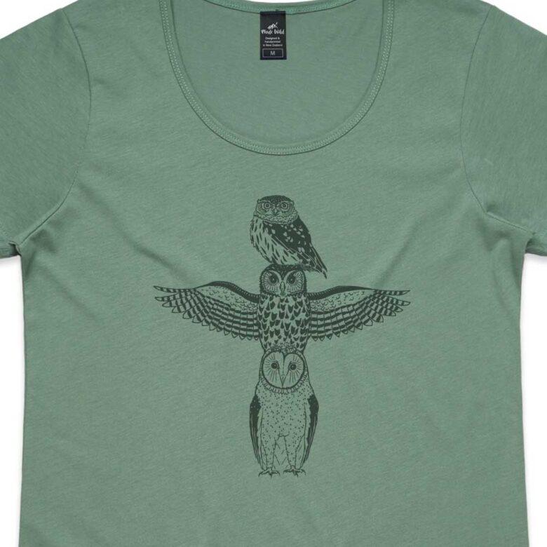Owl Totem Womens Sage t-shirt